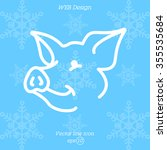 web line icon. pig  livestock   Shutterstock .eps vector #355535684
