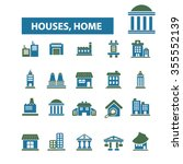 houses  home  buildings  icons  ... | Shutterstock .eps vector #355552139