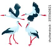 stork standing and flying on... | Shutterstock .eps vector #355560821