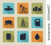 set of  icons with oil... | Shutterstock . vector #355564427