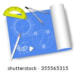 engineering drawings with... | Shutterstock .eps vector #355565315