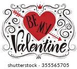 valentines day typography... | Shutterstock .eps vector #355565705