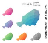 set of vector polygonal niger... | Shutterstock .eps vector #355582691