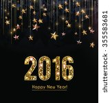 happy new year 2016 card  gold... | Shutterstock .eps vector #355583681