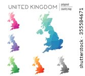 set of vector polygonal united... | Shutterstock .eps vector #355584671