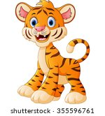 cute baby tiger cartoon | Shutterstock .eps vector #355596761