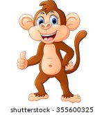 cute monkey cartoon with thumb... | Shutterstock .eps vector #355600325