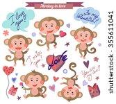 vector set of monkey in love.... | Shutterstock .eps vector #355611041