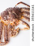 Small photo of Taraba sea crabs or alaska king crab on white background