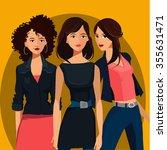 three young women   Shutterstock .eps vector #355631471