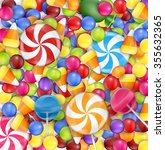 sweets background with lollipop ... | Shutterstock .eps vector #355632365