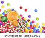 Sweets Of Candies With Lollipo...