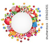 sweets background with frame... | Shutterstock .eps vector #355632431