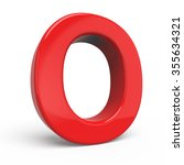 3d glossy red letter o isolated ... | Shutterstock . vector #355634321