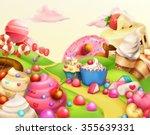 sweet landscape  vector... | Shutterstock .eps vector #355639331