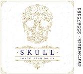 Skull Logo Template In Retro...