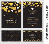 set of love cards with gold... | Shutterstock .eps vector #355675184