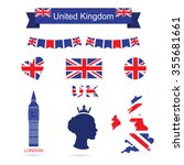 united kingdom symbols. uk flag ... | Shutterstock .eps vector #355681661