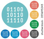 flat binary code icon set on...