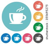 flat coffee icon set on round...
