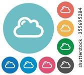 flat cloud icon set on round...