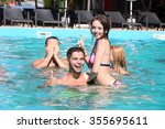 young people having fun in the... | Shutterstock . vector #355695611