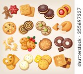 set of all kinds of delicious... | Shutterstock .eps vector #355697327