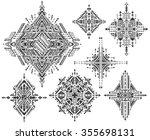 set of seven tribal art boho... | Shutterstock .eps vector #355698131