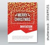 merry christmas red invitation... | Shutterstock .eps vector #355699151