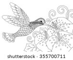 zentangle humming bird design... | Shutterstock .eps vector #355700711