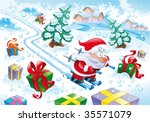santa claus in the snow. funny... | Shutterstock .eps vector #35571079