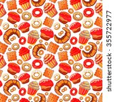 doodle vector.bakery cakes and... | Shutterstock .eps vector #355722977