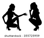 two women talking | Shutterstock .eps vector #355725959
