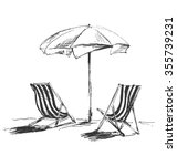 hand sketch with beach chairs...