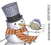 Greeting Christmas Card Snowma...