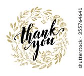 thank you golden  lettering... | Shutterstock .eps vector #355764641