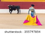 a bullfighter awaiting for the... | Shutterstock . vector #355797854