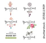 handmade badge set. vintage... | Shutterstock . vector #355811909