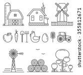 farming outline icons set | Shutterstock .eps vector #355812671