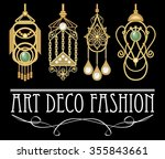 golden earrings with pearl.... | Shutterstock .eps vector #355843661