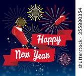 happy new year fireworks party | Shutterstock .eps vector #355880354