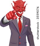 Devil pointing. The devil wants you! Is the corporate world asking you to sell out or just the tax man wanting his due? Raster version - stock photo