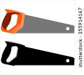 hand saw sawing on a white... | Shutterstock .eps vector #355914167