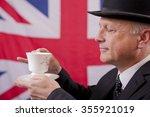 english gentleman drinking tea | Shutterstock . vector #355921019