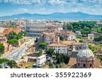 Aerial Cityscape Of Rome With...
