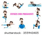 pregnant woman is doing... | Shutterstock .eps vector #355943405