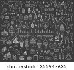 hand drawn doodle party and... | Shutterstock .eps vector #355947635