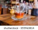 a cup of milk tea on a wood... | Shutterstock . vector #355963814