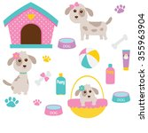 vector illustration of cute dog | Shutterstock .eps vector #355963904