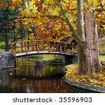 wooden bridge at the park in... | Shutterstock . vector #35596903